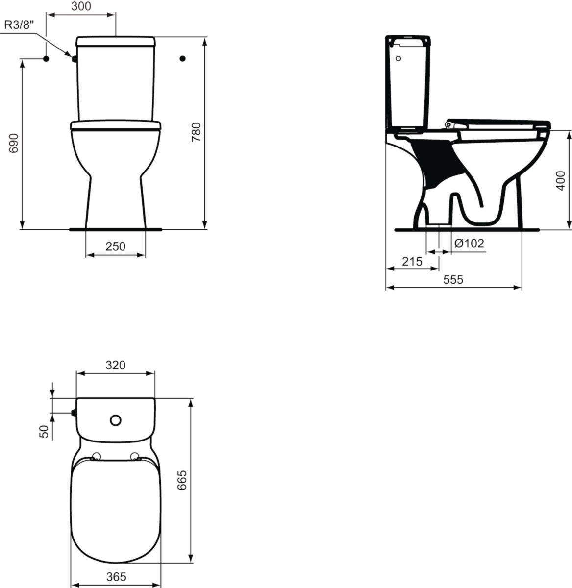 ideal standard pack wc kheops pr t poser avec. Black Bedroom Furniture Sets. Home Design Ideas