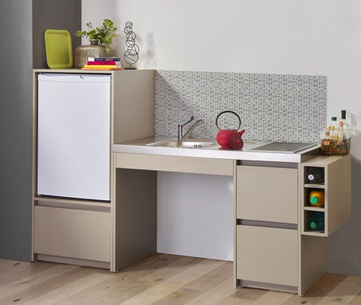 Moderna meuble bas cuisinette en m lamin coloris argile paisseur 16 mm largeur totale - Cuisinette moderna ...