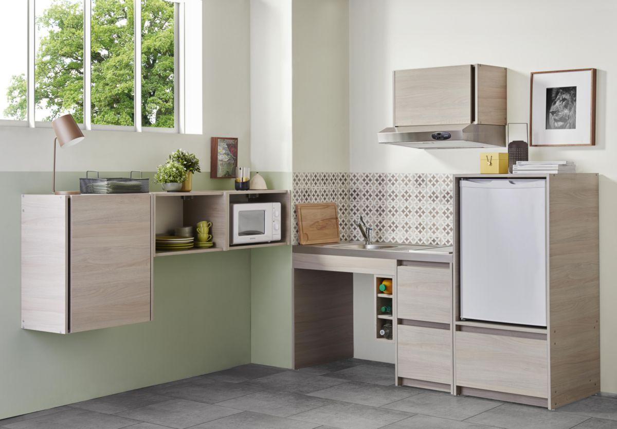 Moderna meuble bas cuisinette en m lamin coloris orme gris paisseur 16 mm largeur totale - Cuisinette moderna ...