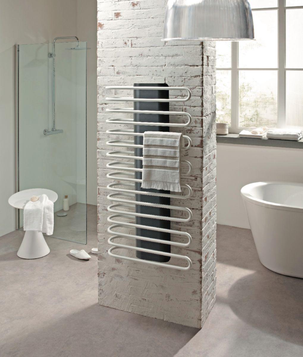 Radiateur sèche-serviettes SANAGA eau chaude acier colonne centrale noire tubes blancs 777 W SA50860CWTBT réf. F98A011106000B4YI