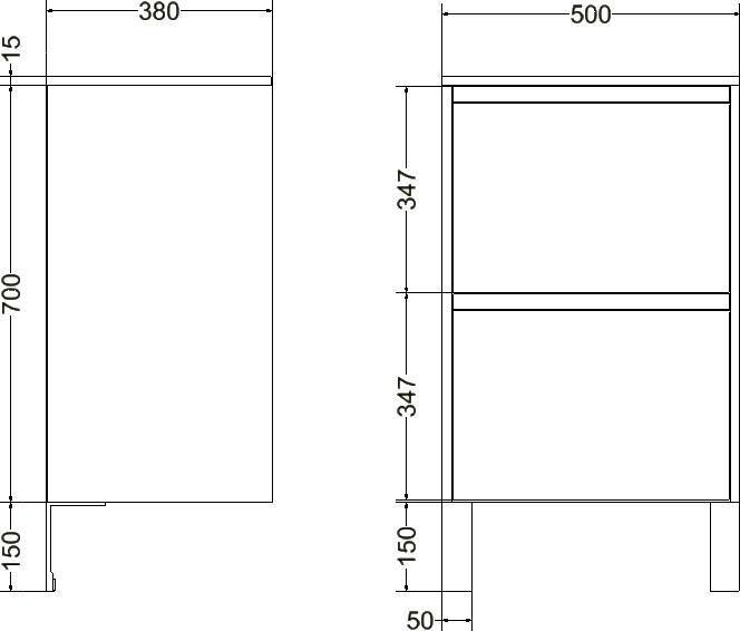 Meuble sous-vasque PLENITUDE 50 cm 2 tiroirs profondeur 38 cm Blanc bois flotté, poignée titane