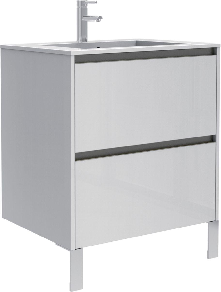 meuble sous vasque plenitude 70 cm 2 tiroirs profondeur 50 cm blanc ch ne naturel poign e. Black Bedroom Furniture Sets. Home Design Ideas