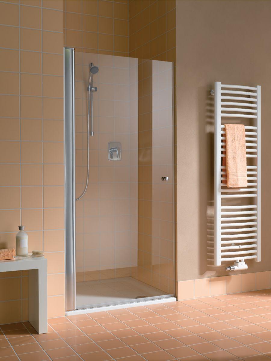 Paroi de douche fixe pour montage avec une porte ATEA TWD 09020 VPR Argent poli Verre clair traité anticalcaire ROTHACLEAN Réf. 1403005616