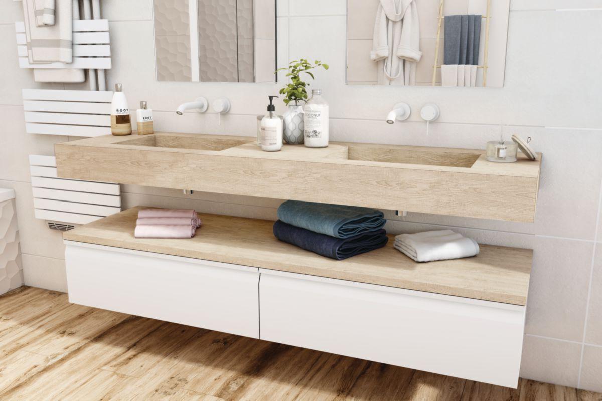 Plan De Toilette Hydrofuge plan de toilette zao avec double vasque 180 cm chêne blanchi (hpl)