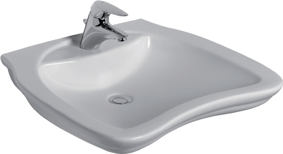 Lavabo ergonomique PMR MATURA 2 65 x 55 cm, sans trop-plein, blanc Réf. E765701