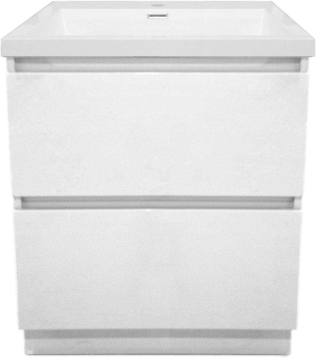 Meuble Primeo 60 cm au sol 2 tiroirs blanc ALTERNA Sanitaire CEDEO