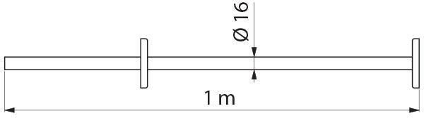 Porte-rideau de douche droit à redécouper, tube inox poli brillant D 16 mm, épaisseur 1 mm, longueur 1 m réf. 355