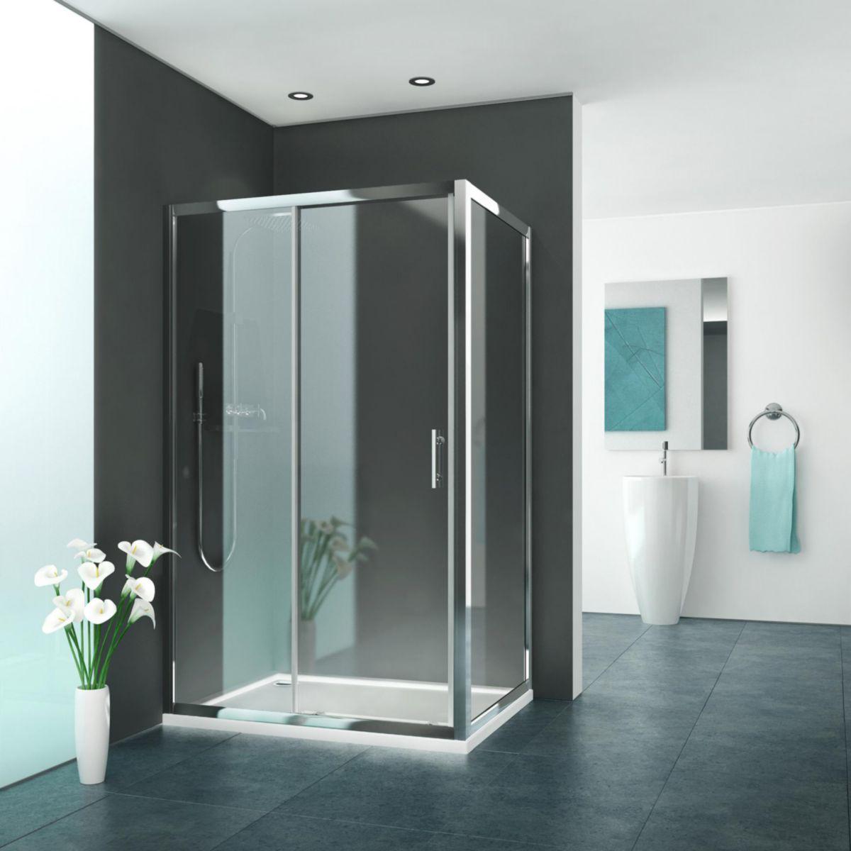 Rothalux porte de douche coulissante grande largeur 2 - Porte de douche avec paroi fixe ...