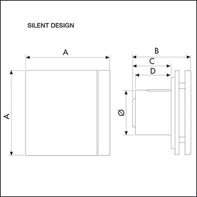 Aerateur design ultra silencieux 100m3h extra plat facade noire Réf. 403520