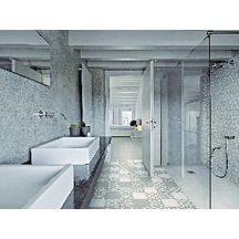 Carreau sol intérieur ciment CIMI15 - décor contemporain taupe/blanc - 20x20 cm