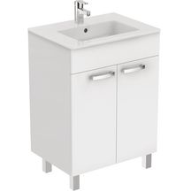 ensemble de meuble ulysse 2 portes 60cm blanc brillant rf e3255wg - Meuble Salle De Bain Brossette