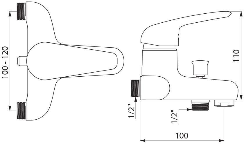 Mitigeur Bain Douche De Renovation Male 15 X 21 Entraxe Variable 100