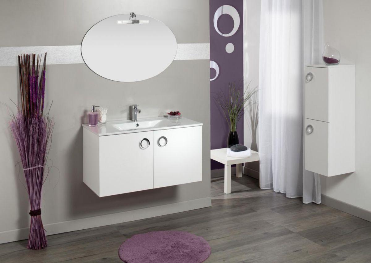 Meuble sous vasque SEDUCTA 60 cm 2 portes blanc brillant