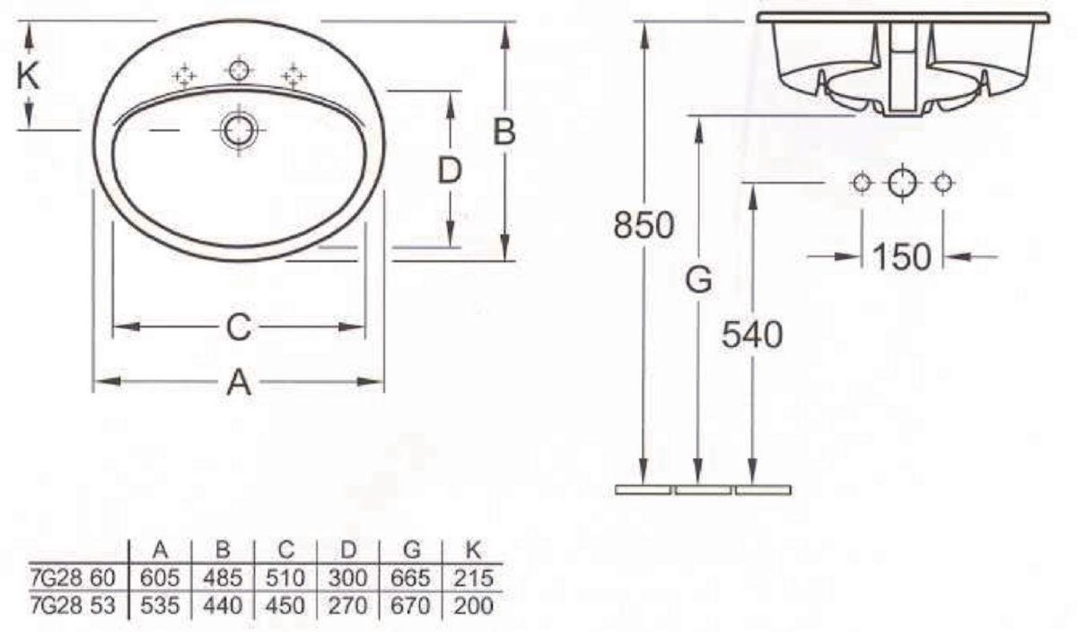 Vasque VOLTA à encastrer 53 x 44 blanche pour robinetterie monotrou avec trou de trop-plein Réf. 7G285301