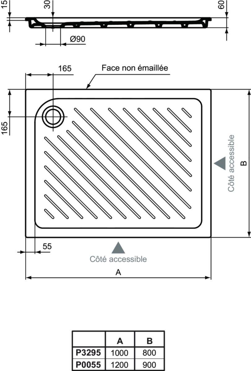 Receveur à encastrer ULYSSE+ 120 x 90 cm blanc Réf. P005501