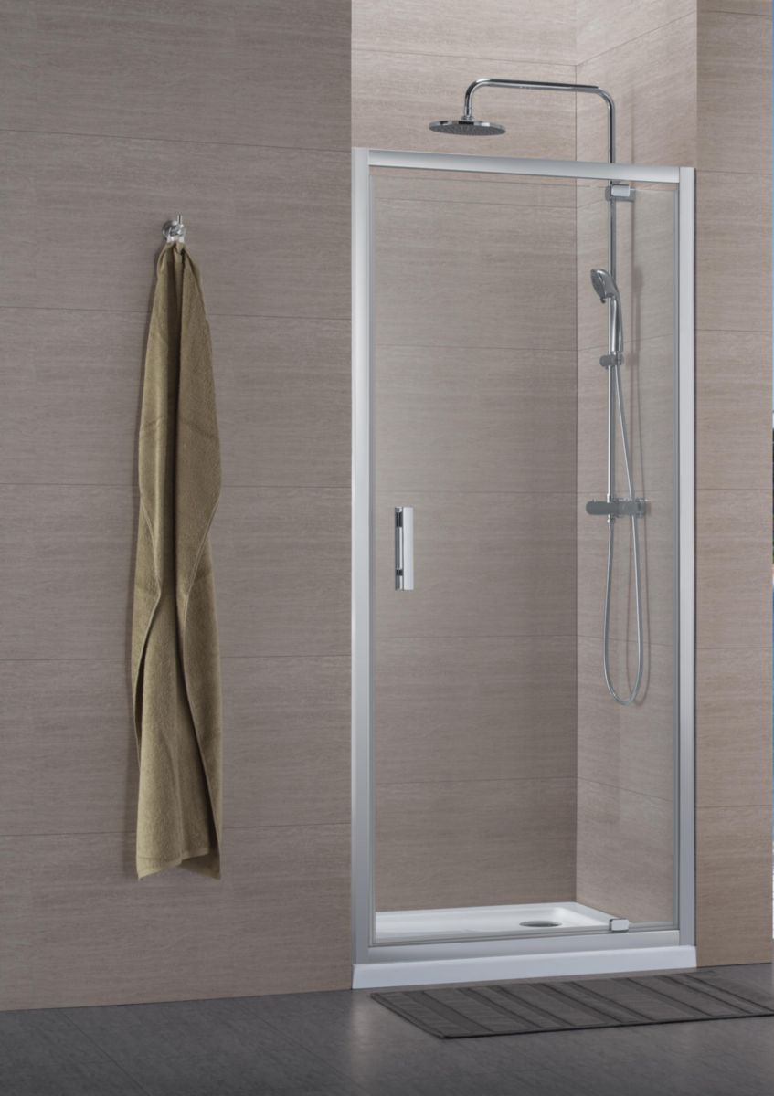 Paroi de douche Concerto accès de face porte pivotante 70x70cm profilé argent brillant verre transparent