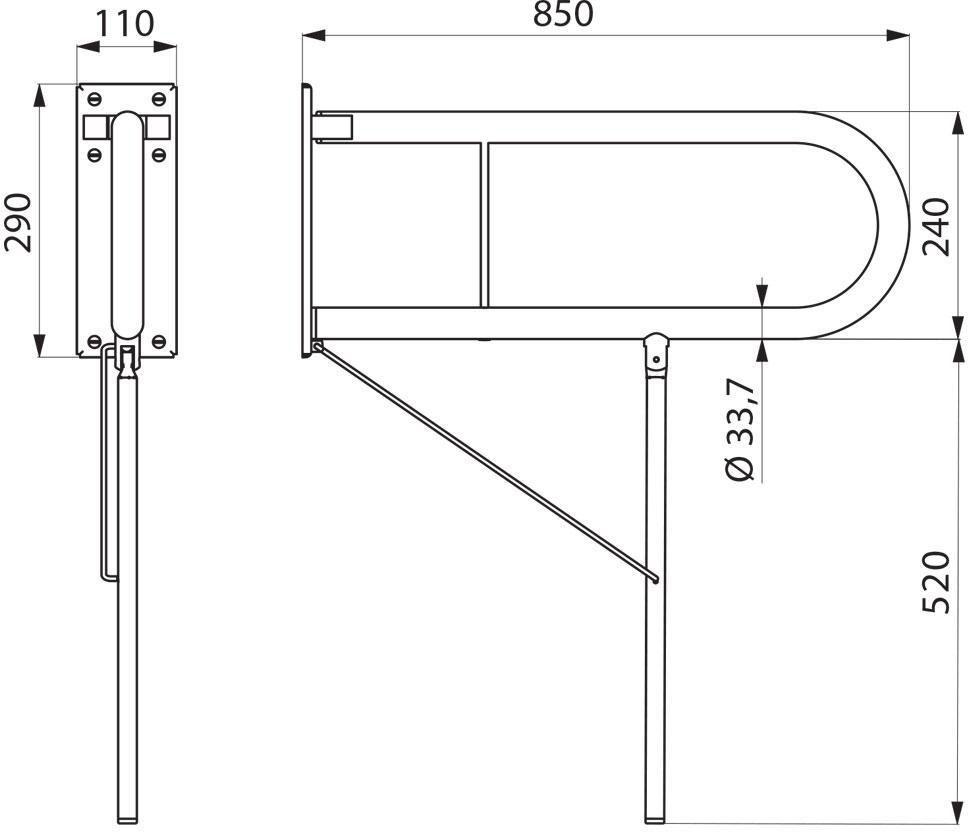 Poignée relevable avec béquille inox poli brillant longueur 850 mm Réf : 5170P1