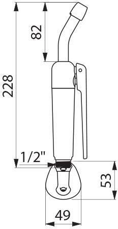 Douchette HOSPITAL à gâchette standard avec embout démontable incliné à 30° (fournie avec support mural) réf. 434000