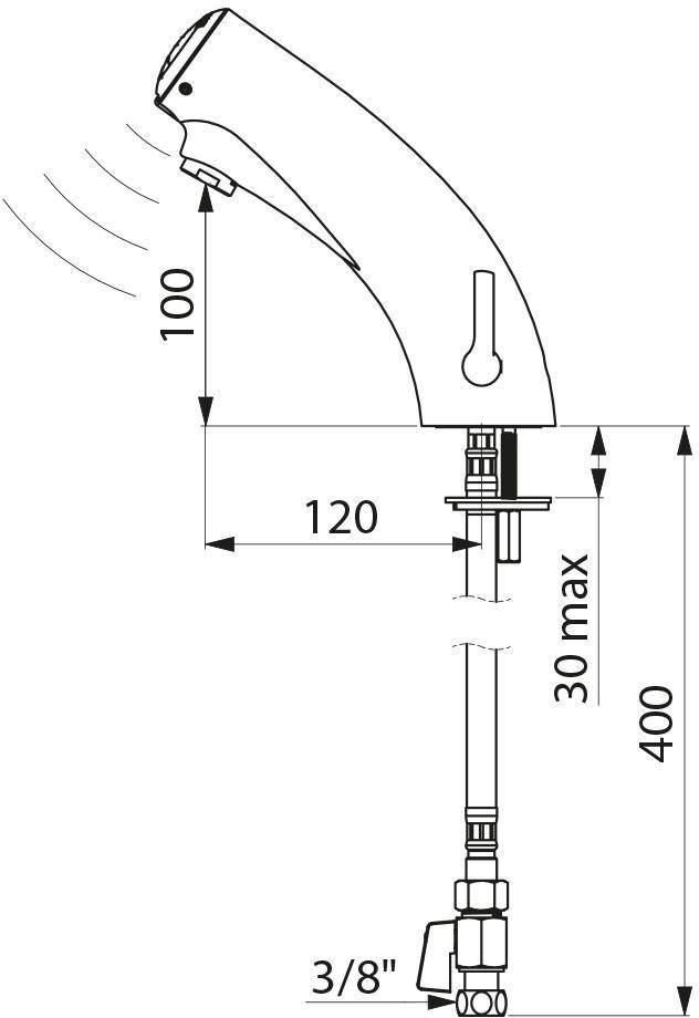 Mitigeur électronique de lavabo Tempomatic MIX avec module électronique à pile Lithium 6V et électrovanne intégrés : réf. 492006