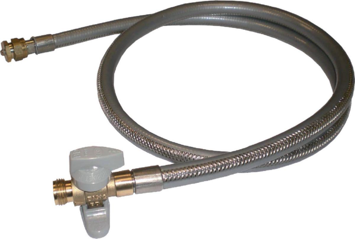 Robinet d'arrêt + flexible+bouchon ROBIFLEX M-M 1/2 DN : cal. 12 Lg : 1500 mm réf. 0239105