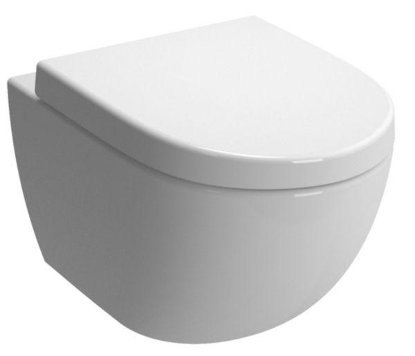 WC suspendu DAILY'O 2 caréné, abattant recouvrant, frein de chute, déclipsable