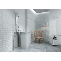 Carrelage mural intérieur faïence Millenium décor Flow Blanco Brillo - 30x90 cm