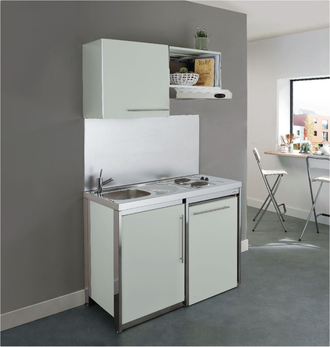 Moderna cuisinette metalline en 120 cm coloris gris soie r f kpaz120t22 cedeo - Cuisinette moderna ...