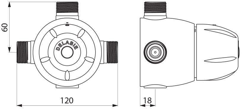Mitigeur thermostatique Premix 55 collectif 55 litres par minute mâle 20 x 27 : réf. 731002