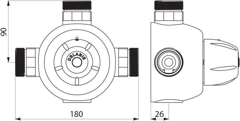 Mitigeur thermostatique Premix 140 collectif 140 litres par minute mâle 33 x 42 : réf. 731004