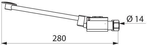 Robinet non temporisé MONOFOOT commande au pied montage au sol fixation 4 vis écrou 15 X 21 diamètre 14 : réf. 736001