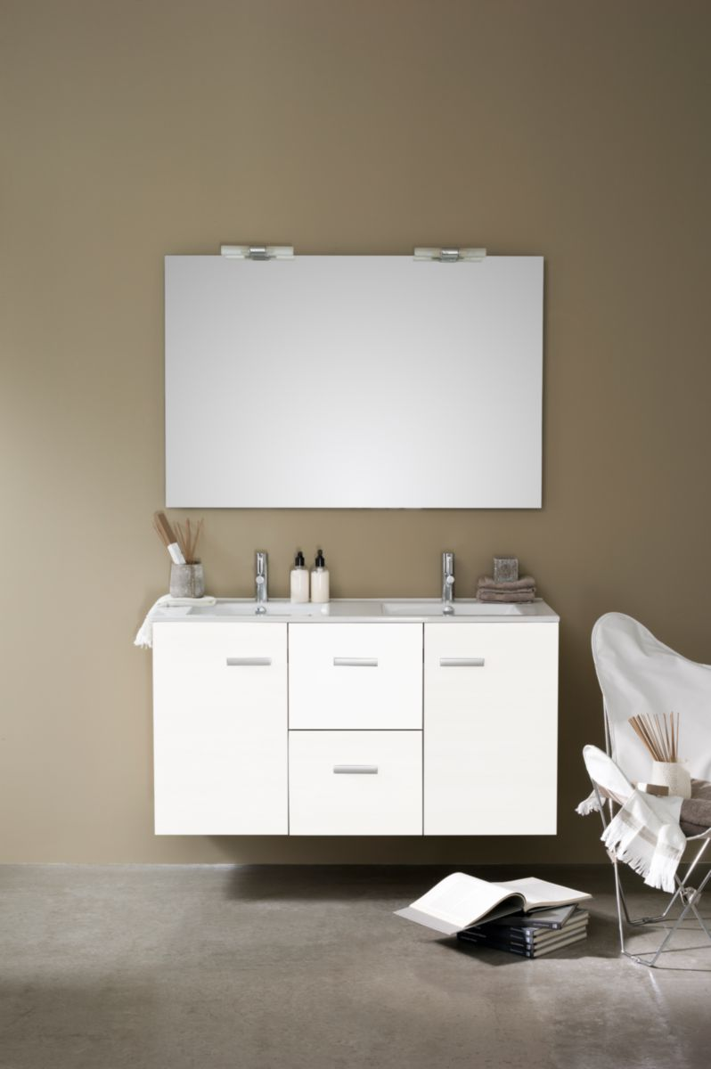 meuble woodstock 120 cm 2 tiroirs blanc brillant alterna. Black Bedroom Furniture Sets. Home Design Ideas