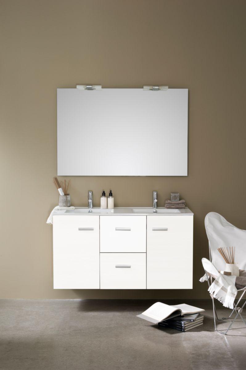 Alterna meuble concerto 120 cm 2 portes 2 tiroirs blanc brillant cedeo - Meuble vasque 120 cm ...