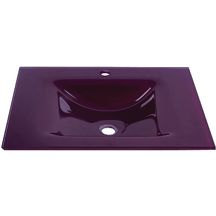 Plan SEDUCTA 61 cm, vasque simple, sans trop-plein, aubergine