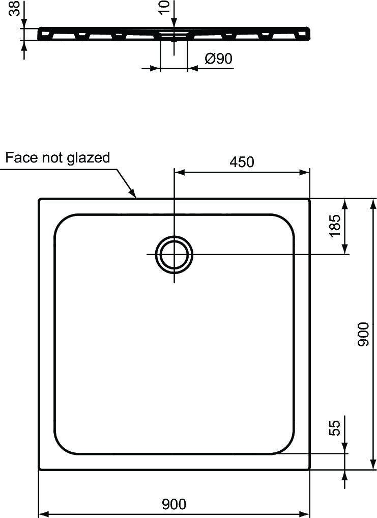 Receveur DESIGN ultraplat 90 x 90 cm Antidérapant