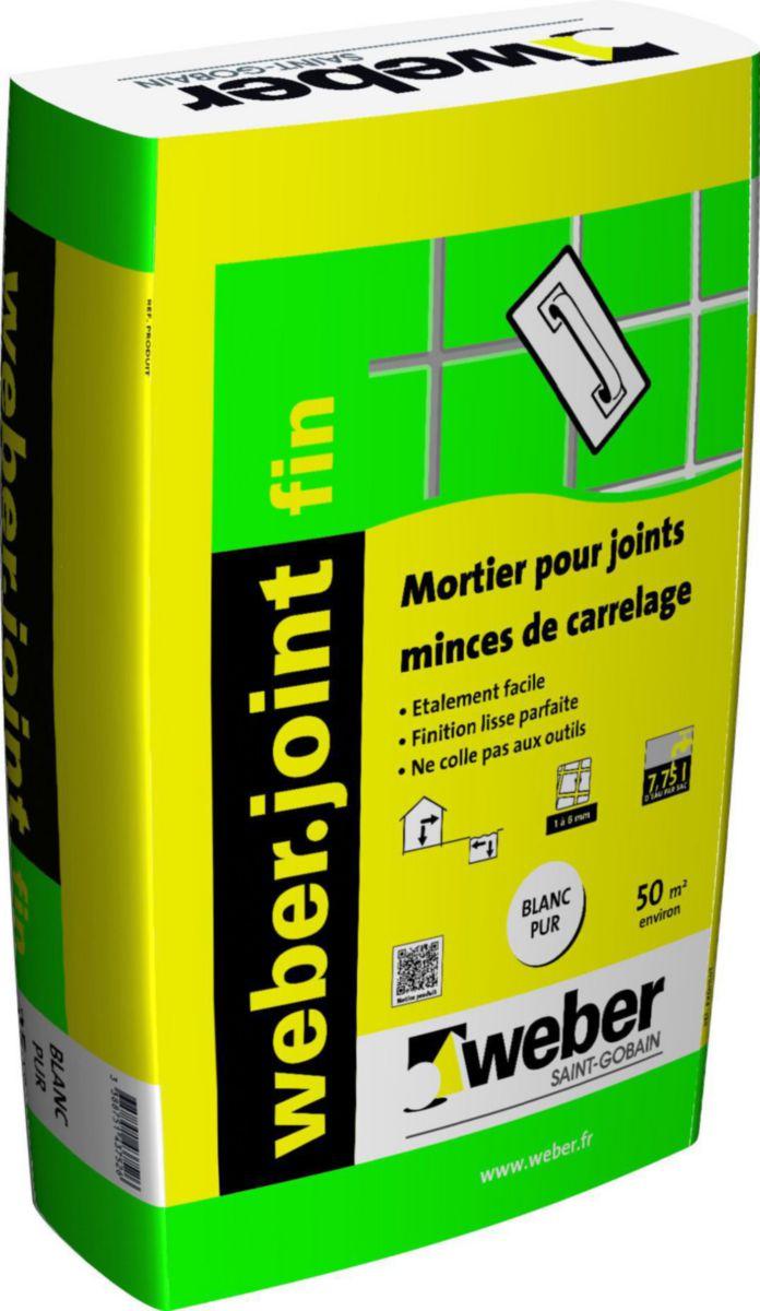 Mortier pour joint mince de carrelage weber.joint fin weber blanc pur sac 5 kg