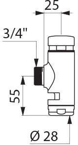 Robinet temporisé Tempoflux à bouton amorceur WC apparent avec écrou de sortie diamètre 28 : réf. 761000