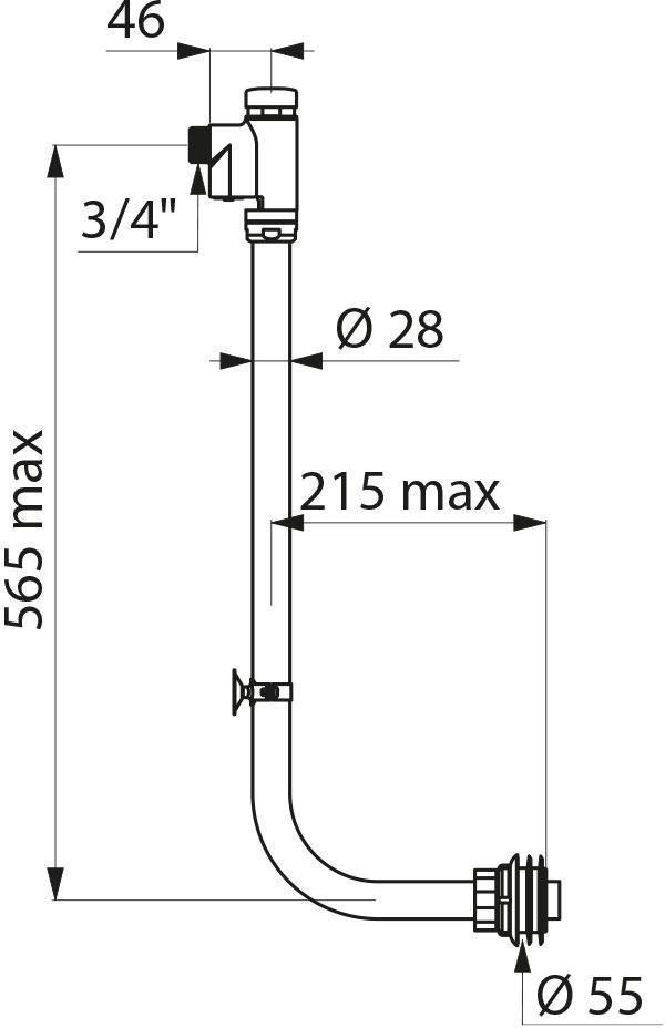 Kit Tempoflux apparent pour cuvette WC traditionnelle ou enfantine avec robinet d'arrêt : réf. 761003