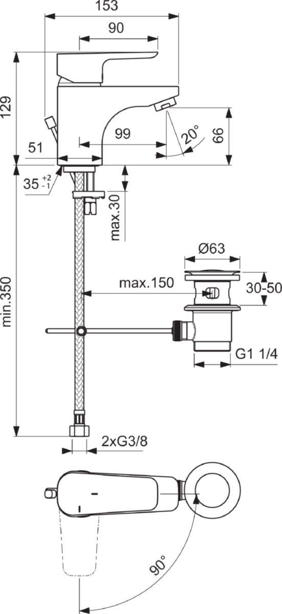 Mitigeur de lavabo KHEOPS vidage polypropylène c3 chromé réf. B0738AA
