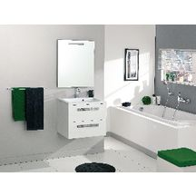 Meuble sous vasque seducta 60 cm 2 tiroirs blanc for Meuble 2 tiroirs 60 cm woodstock bois clair