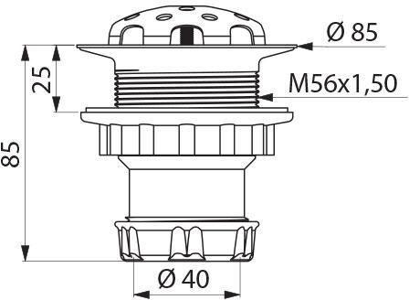 Bonde de stalle siphonnée avec écrou diamètre 40 crépine inox et corps en polypropylène : réf. 785000