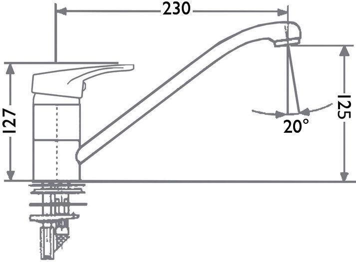 Mitigeur évier MEZZO 2, cartouche céramique avec point dur, manette métal, NF, chromé