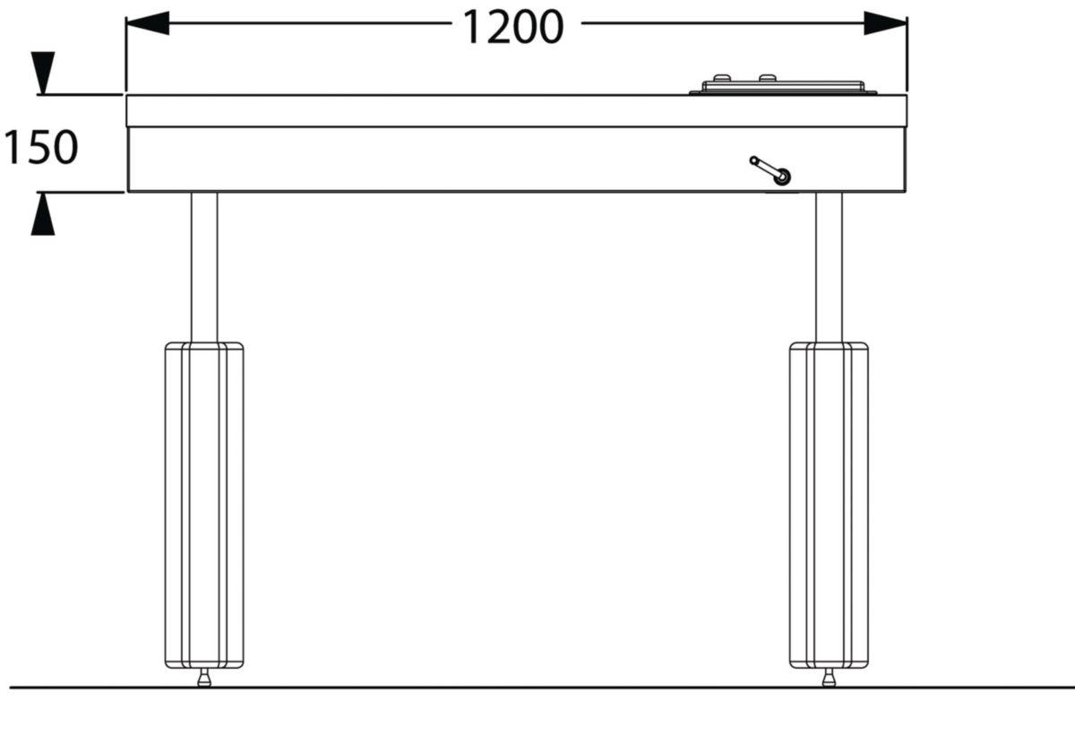 Hauteur Plan De Travail ensemble cuisinette pmr, cadre flexikit à hauteur variable permettant de  descendre et monter le plan de travail sur 30 cm avec une manivelle