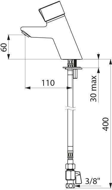 Mitigeur temporisé de lavabo TEMPOMIX F3 / 8'' mitigeur 7 secondes croisillon Bayblend + robinnet arrêt réf. 795000