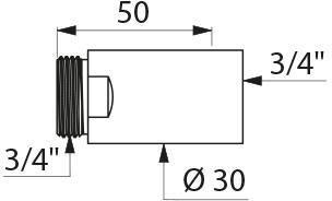 Rallonge chromée mâle 20x27 femelle 20x27 L50 diamètre 30 Réf : 822520
