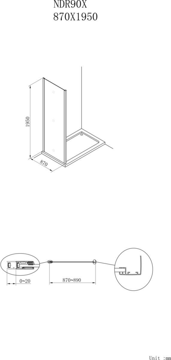 Paroi de douche CONCERTO retour fixe 90 x 90 cm profilé argent brillant verre transparent