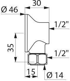 Raccord applique avec écrou M15x21 F15x21 Réf : 841000