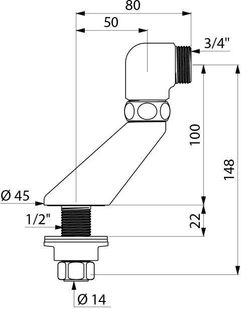 Colonnette excentrée 50mm mâle 15x21 mâle 20x27 (lot de 2) Réf : 878027.2P