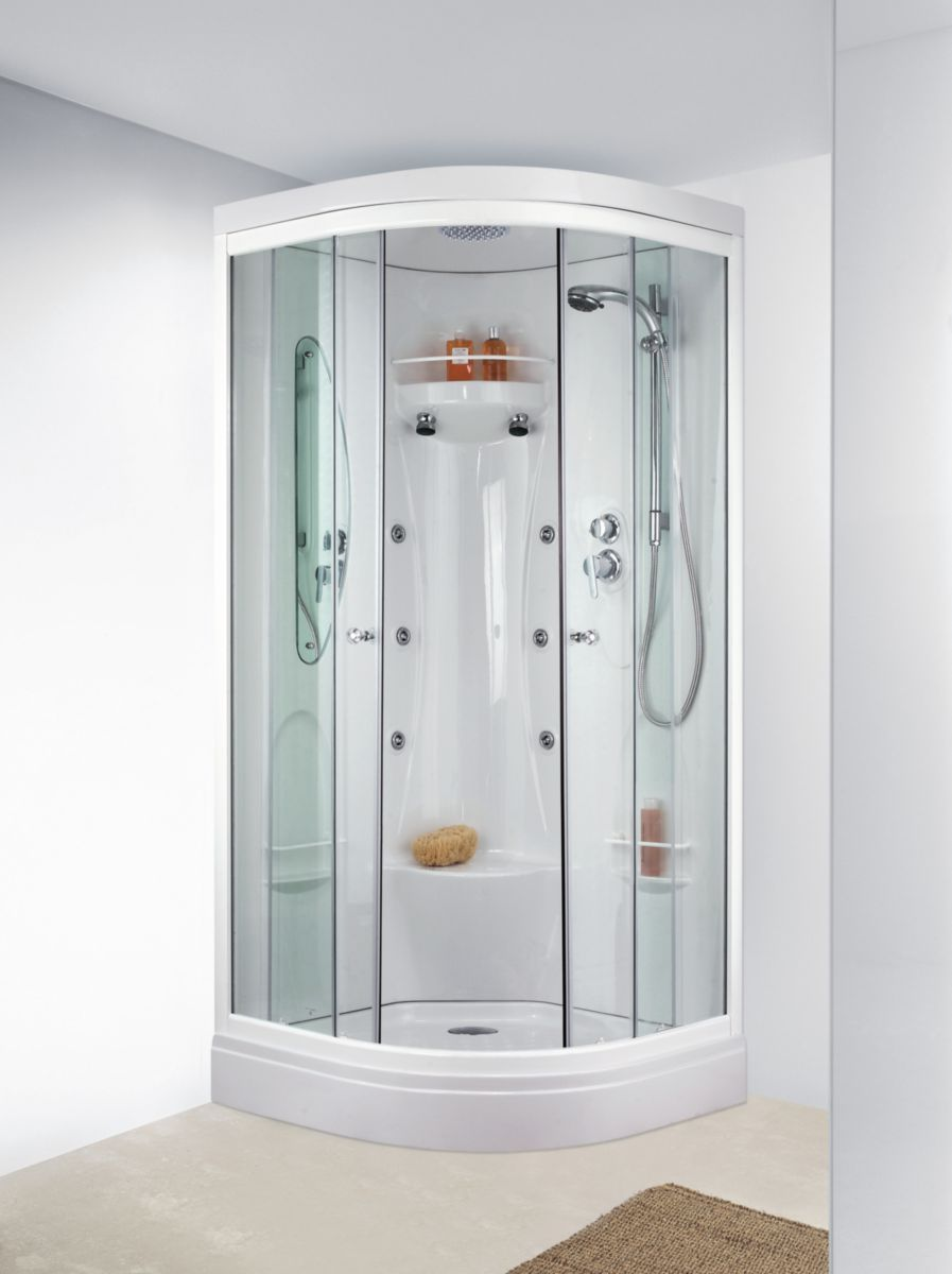 cabine odysse quart de rond hydro portes coulissante verre transparent rf lod leda sanitaire. Black Bedroom Furniture Sets. Home Design Ideas