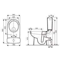Pack WC Prima 6 sortie horizontale abattant standard Réf 08325300000201