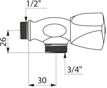 Robinet de service mural alimentation de machine à laver M 1/2 M 3/4 D276020